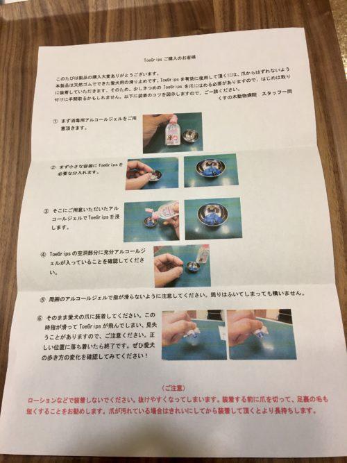 くすの木動物病院から届いた取り付け方の説明書の画像