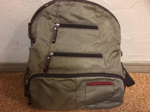 Image of the backpack I want to repair the faux leather part
