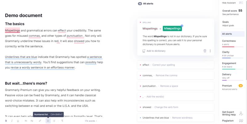 Grammarly-登録後のDemo画面の画像