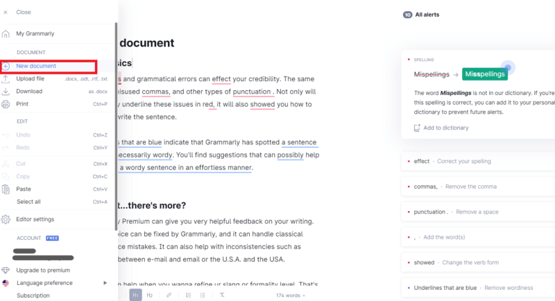 Grammarly-左側のタブを押して開けて新規文書を選ぶ画像