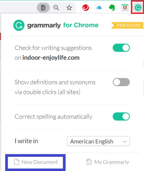 Grammarly-for-Chromeのアドオンのクリック画像