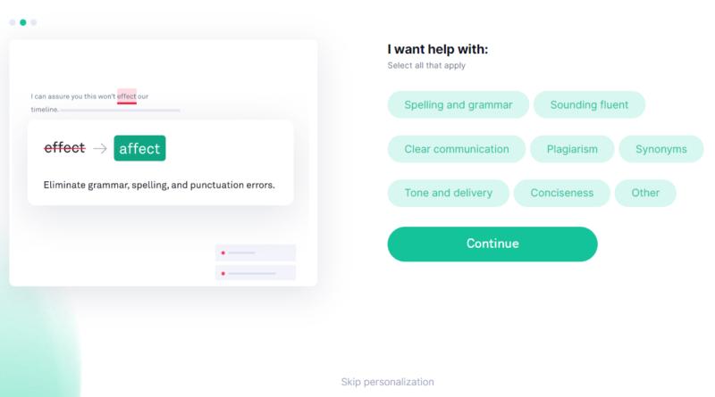 Grammarly-無料会員登録ページ-どんな機能を使いたいか選ぶ画面
