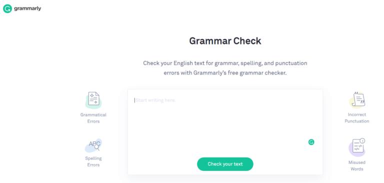 Grammarly HPのトップページ画像