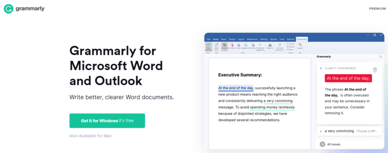 Grammarly for Microsoft Word and Outlookのダウンロード画面