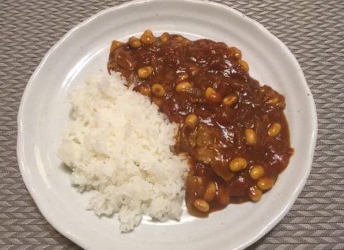 大豆トマトカレー食卓