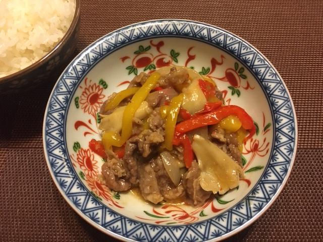 中華風彩り野菜と牛肉炒め煮の完成した画像