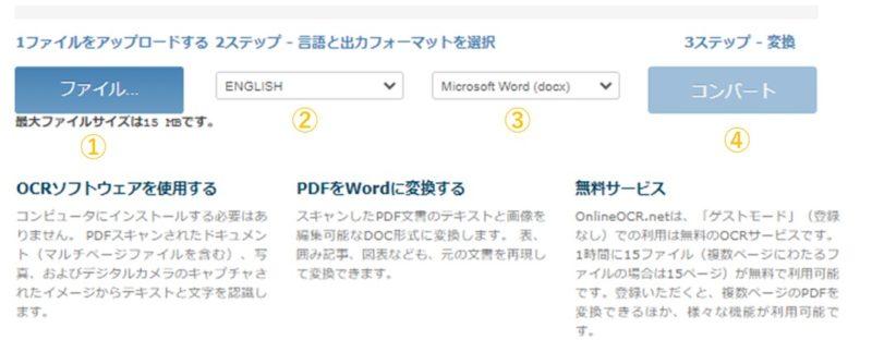 Online OCRのゲストモードのアップロード画面の画像:番号付き