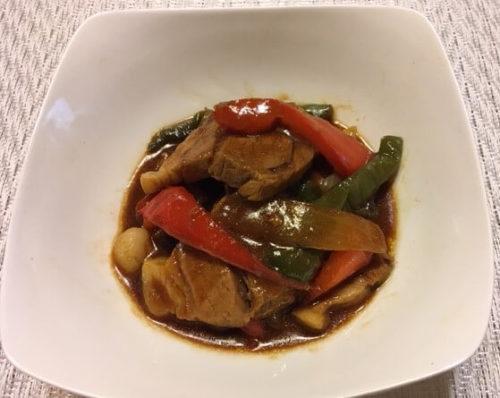 ゆで豚中華風みそ炒め煮食卓