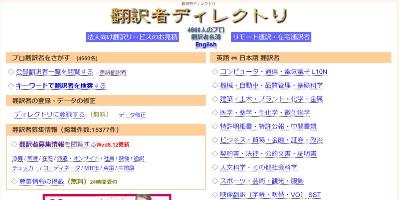 翻訳者ディレクトリのHPのトップ画像
