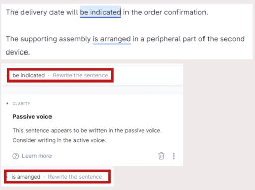 Grammaryで受動態の英文がチェックされている画像