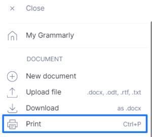 Grammarlyの印刷アイコン