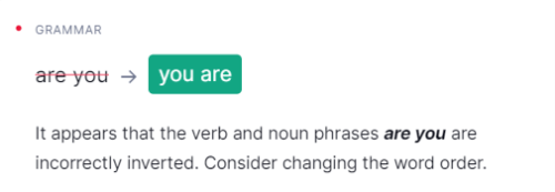 Grammarly 文法間違い