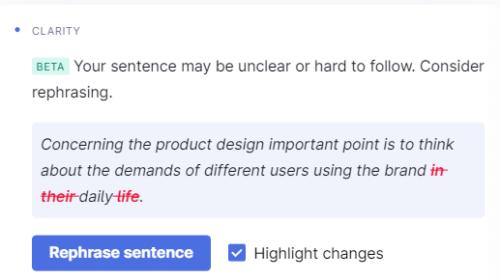 Grammarly わかりやすさベータ版