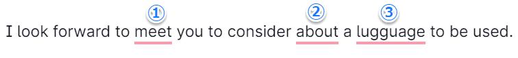Grammarlyの基本的な文法のチェックコメント入り