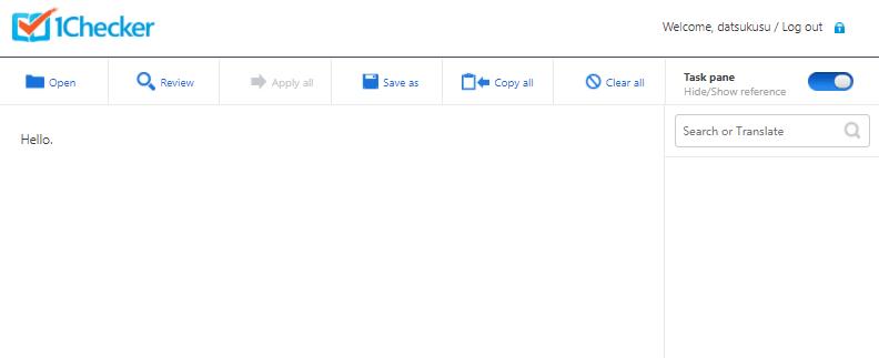 校正ツール・1Checkerの添削画面