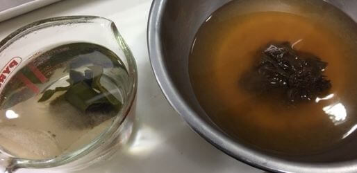 だし汁と赤味噌