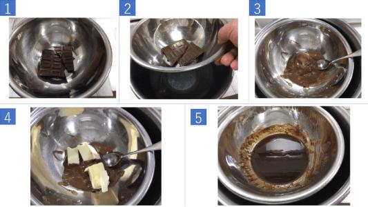 チョコバタークリーム作り工程