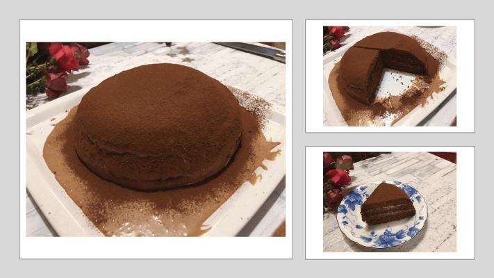 チョコレートケーキ食卓