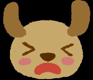犬が顔をしかめている