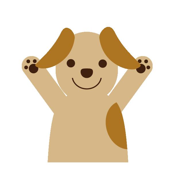 dog raising arms