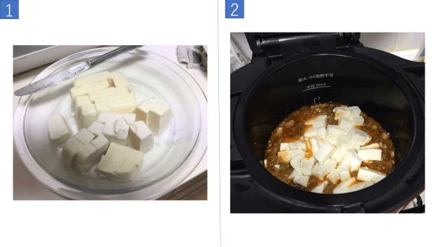 Putting the tofu into the pot