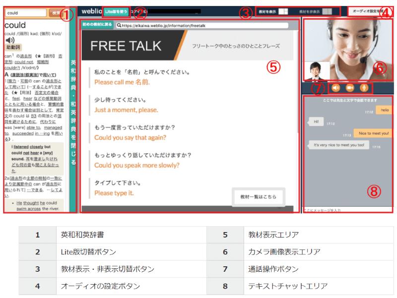 Weblio英会話:レッスン画面