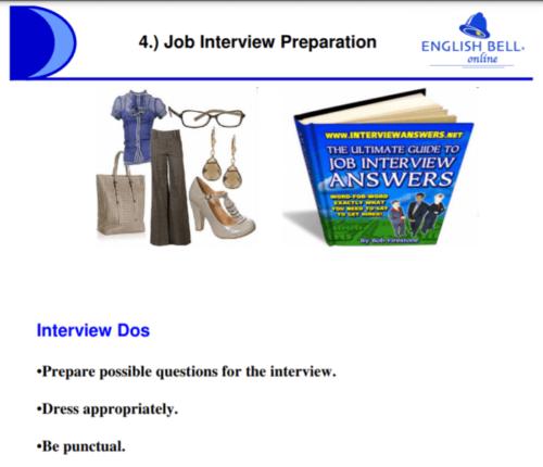イングリッシュベルの「Job preparationクラス」のテキスト画像
