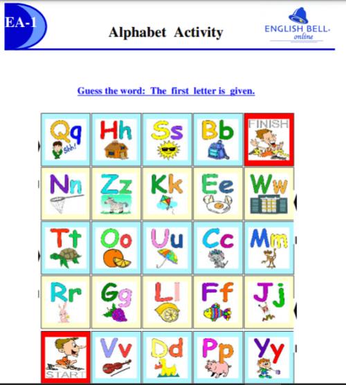 イングリッシュベルの「Alphabet Activity」のテキスト画像