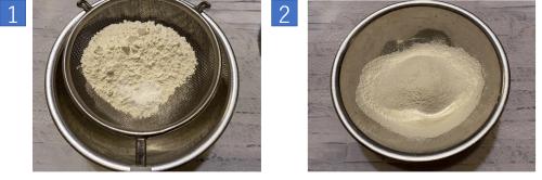 2お好み焼き小麦粉・塩砂糖・ベーキングパウダーふるい