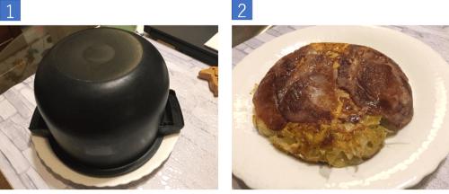 9鍋に皿をかぶせてひっくり返す
