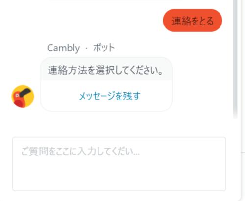 ⑱ Camblyのボットにメッセージを残す