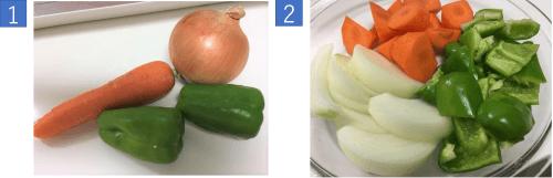 野菜を切ってラップをかけ電子レンジで5分やわらかくしておく