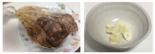 1牛肉の下味とにんにく薄切り