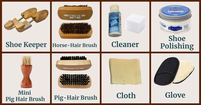 8 tools to use for shoe polishing brown leather shoes