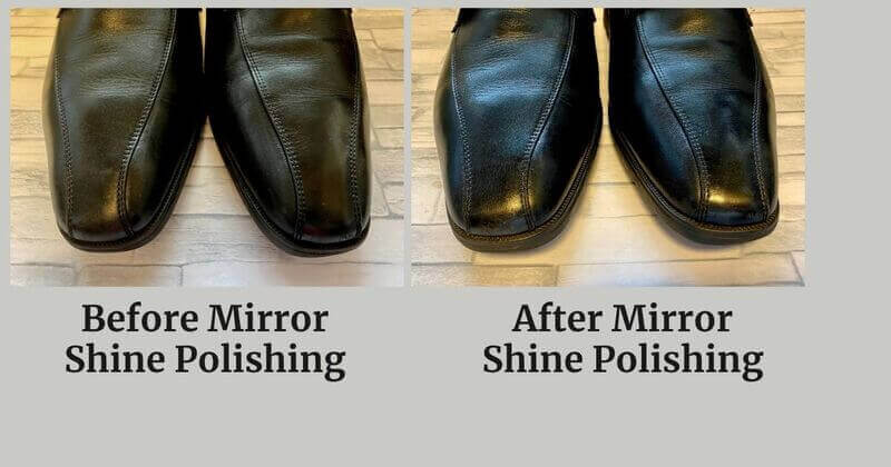 Before and After Mirror Shine Polishing