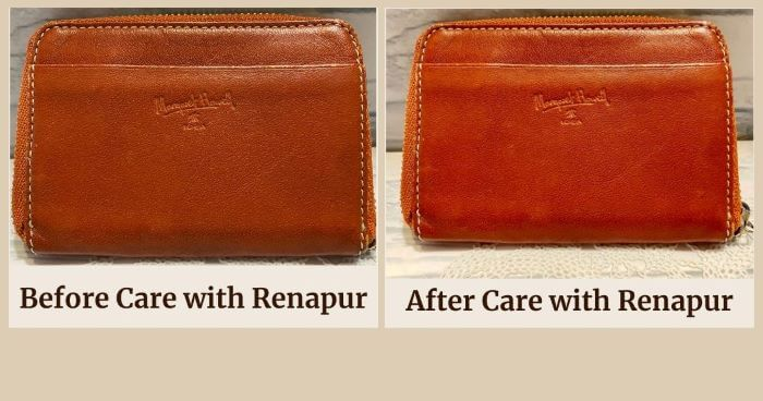 Coin purse_before caring with Renapur and after