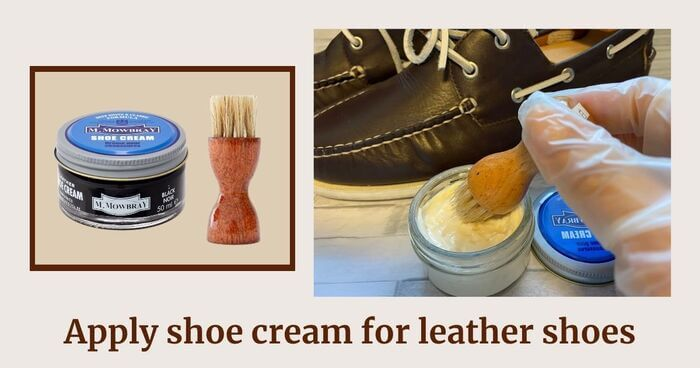 Step5 Apply shoe cream for leather shoes with a special brush