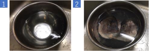 鯛のあらを良く洗う